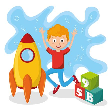 kids zone children entertaiment boy playing with rocket and cubes avatar cartoon character vector illustration graphic design