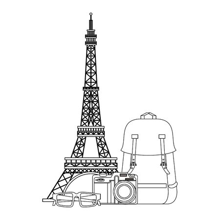 Travel vacations eiffel tower and camera with backpack and glasses cartoons vector illustration graphic design