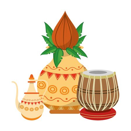 Indian lotus flowers and decorative porcelain jars with leaves isolated vector illustration graphic design Ilustracja