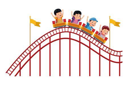 kinderen in de achtbaan geïsoleerde vector illustratie grafisch ontwerp