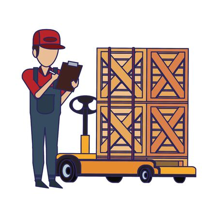 Warehouse worker checking boxes on clipboard vector illustration Stock Illustratie