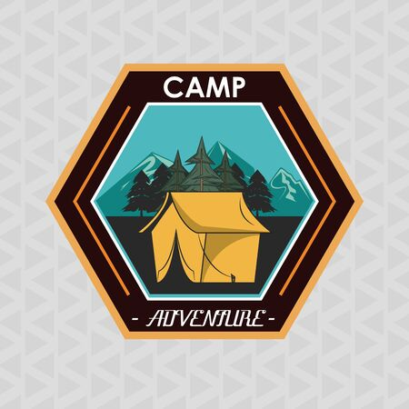 Camping explore summer patch emblem tent in mountains vector illustration graphic design