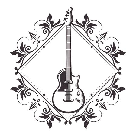 electric guitar into diamond with flower arrangement drawn in black and white tattoo icon vector illustration graphic design Stock Vector - 129587196
