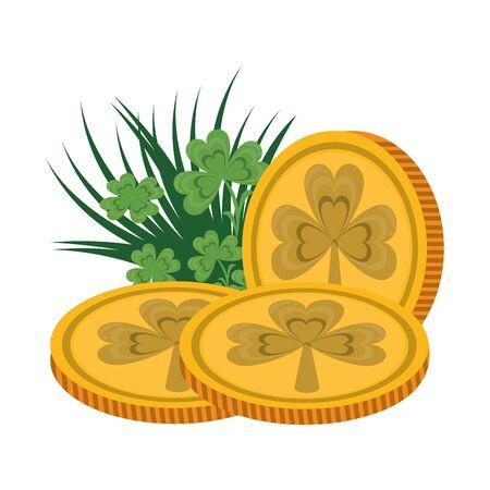 saint patricks day irish tradition golden coins with clovers cartoon vector illustration graphic design