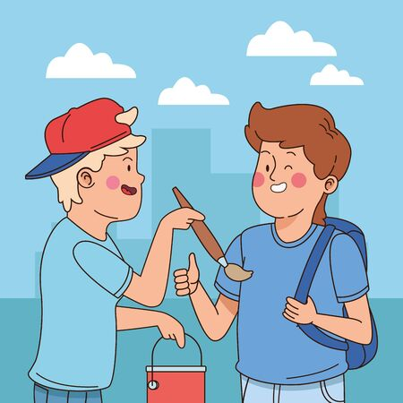 Teenagers friends with paint bucket and brush holding backpack in the city park, urban cityscape scenery background ,vector illustration graphic design.  イラスト・ベクター素材