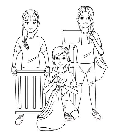 cleaning service person woman with braid holding a trash can, woman putting a can into a garbage bag and woman carrying dustpan and garbage bag profile picture avatar cartoon character portrait in black and white vector illustration graphic design
