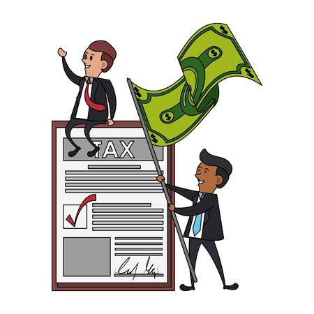 state government taxes business, executive business men managing personal saving money finances cartoon vector illustration graphic design  イラスト・ベクター素材
