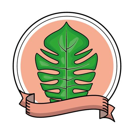 Tropical palm leaf nature cartoon round emblem with ribbon banner vector illustration graphic design
