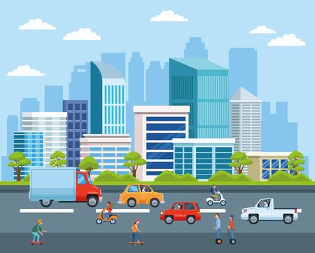 Transport urbain et mobilité, citoyens conduisant différents véhicules dans la rue avec des dessins animés de vue sur le paysage urbain. conception graphique d'illustration vectorielle.