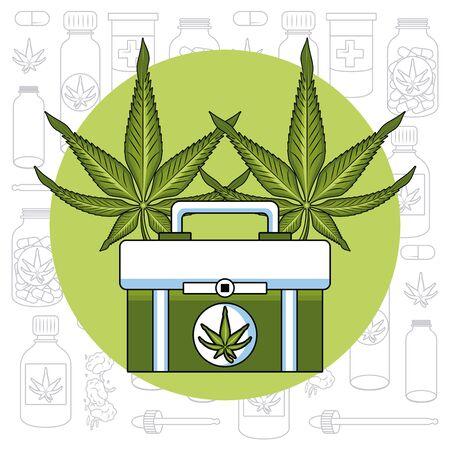 Cannabis medical natural medicine concept vector illustration graphic design Ilustrace
