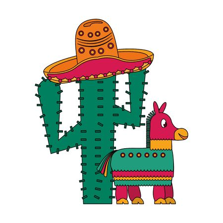 Mexico celebrations cactus and donkey with hat cartoons vector illustration graphic design
