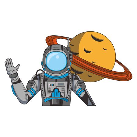 universe space galaxy astronomy science astronaut with planet cartoon vector illustration graphic design Vettoriali