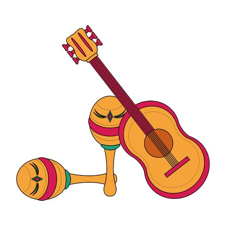 Mexican guitar and maracas latin instruments vector illustration graphic design
