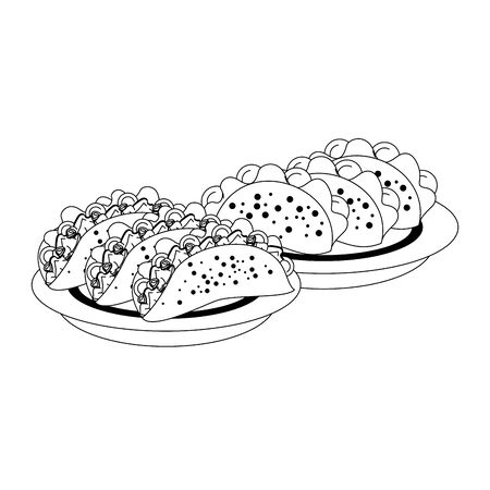 mexico culture and foods cartoons plates with tacos vector illustration graphic design  イラスト・ベクター素材