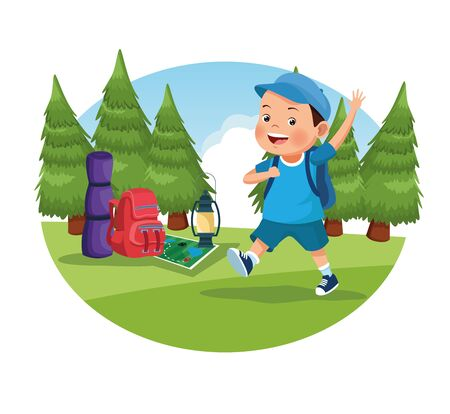 children on school field trip boy student walking with bag in round icon outdoor forest landscape avatar cartoon character Stock Illustratie