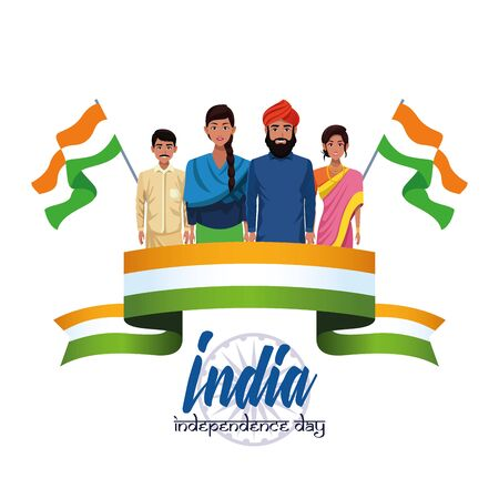 India independence day card with indian ethnic people holding flag cartoons ,vector illustration.