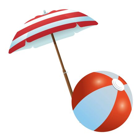 Beach ball under summer umbrella ,vector illustration graphic design.