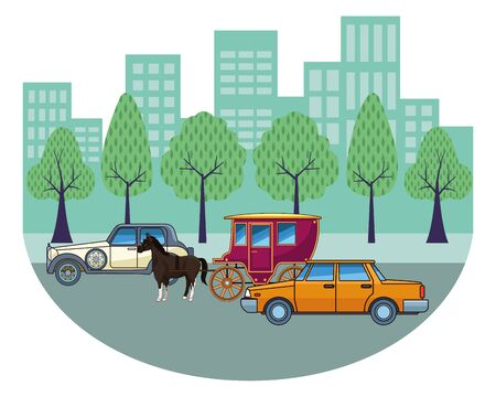 Classic cars and antique horse carriage, vintage and retro vehicles riding in the city urban background vector illustration graphic design. Banque d'images - 129646929