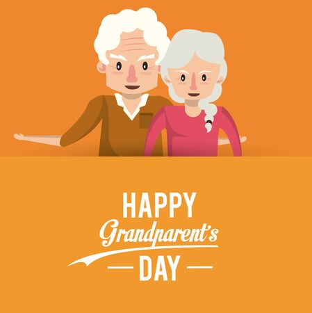 Happy grandparents day card with grandfather and grandmother couple cartoons vector illustration graphoc design.