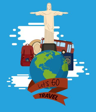 travel journey and tourism places with panama hat, passport into a bag, christ the redeemer and english bus over a globe with a ribbon banner lets go travel sign icon cartoon vector illustration graph
