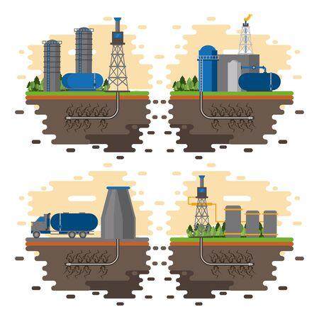 Fracking zone and oil industry emblems set of emblems vector illustration graphic design