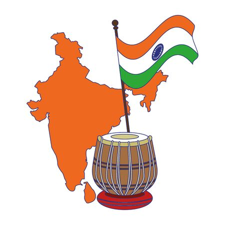 India independence day emblems map silhouette and flag with drum cartoons vector illustration graphic design