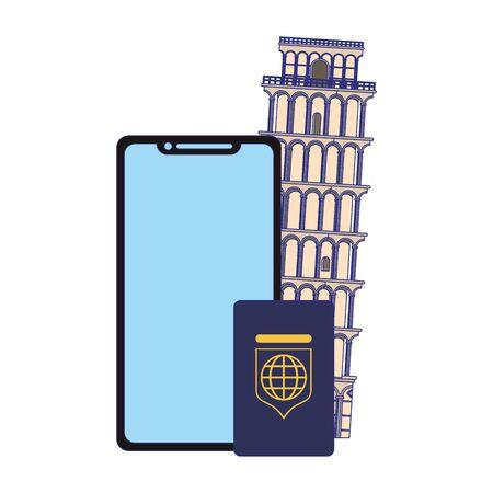 Travel vacations and summer smartphone passport and pisa tower cartoons