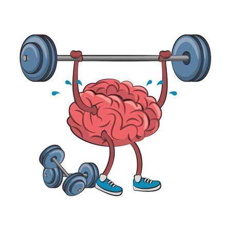 Cerebro con levantamiento de pesas y pesas dibujos animados ilustración vectorial diseño gráfico