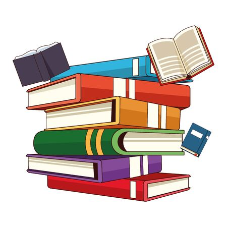 stacked big books and some falling colorful icon cartoon vector illustration graphic design