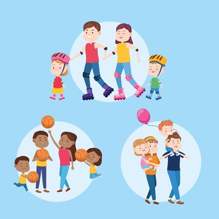 Family parents and childrens having fun set of cartoons, kids and young dad and mom, children hapiness. vector illustration graphic.