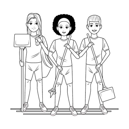 cleaning service person afromerican woman with garbage picker, woman carrying dustpan and garbage bag and man carrying dustpan profile picture avatar cartoon character portrait in black and white vector illustration graphic design