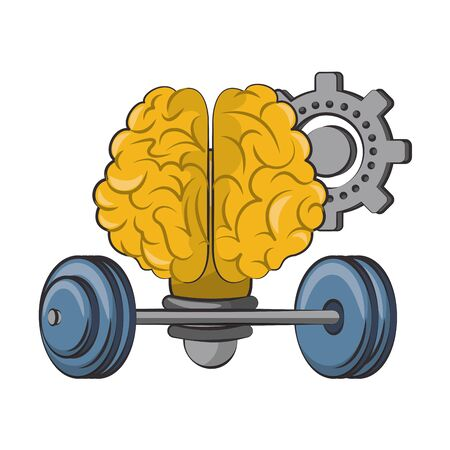 Brain bulb light shape with gear and weights vector illustration graphic design Ilustração