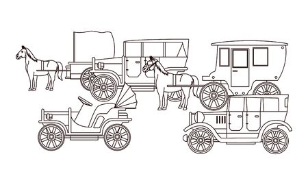Classic cars and antique horse carriage, vintage and retro vehicles in black and white vector illustration graphic design. Banque d'images - 129650693