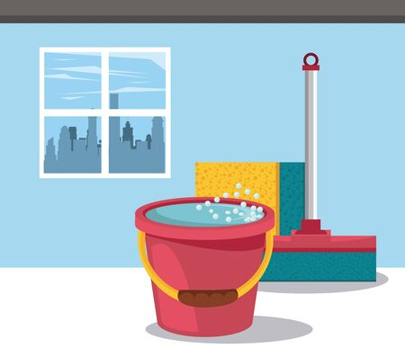 Cleaning products water bucket and window cleaner with sponge in home scenery vector illustration graphic design Banque d'images - 129650695