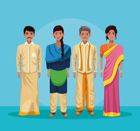 indian group of india wearing traditional hindu clothes on blue background vector illustration graphic design