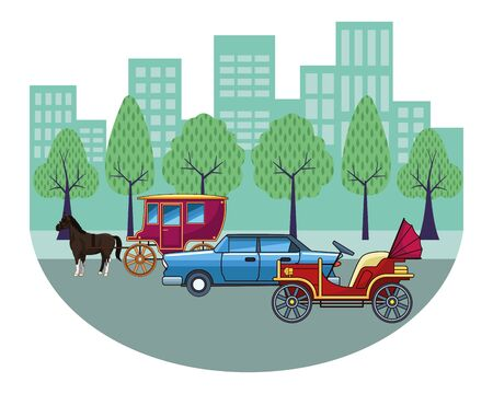 Classic cars and antique horse carriage, vintage and retro vehicles riding in the city urban background vector illustration graphic design. Banque d'images - 129651673