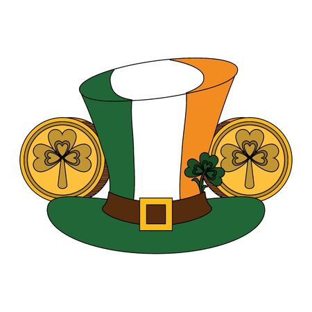 saint patricks day irish tradition leprechaun hat with ireland flag and coins with clover cartoon vector illustration graphic design