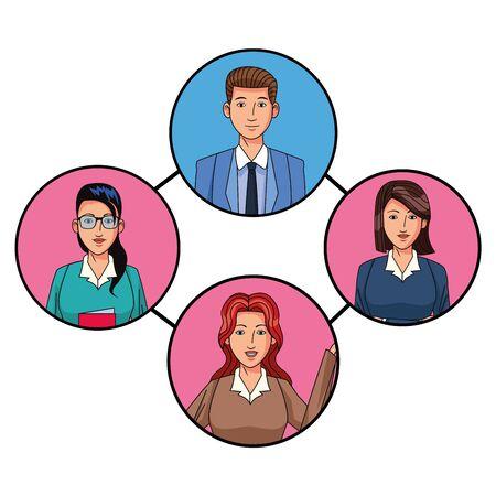 Groupe de quatre hommes d'affaires femme avec des lunettes et femme aux cheveux courts avatar personnage photo de profil icône ronde vector illustration graphic design