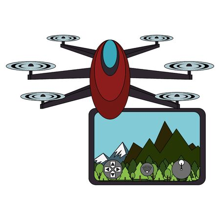 air drone remote control technology device with air landscape view cartoon vector illustration graphic design Stock Illustratie