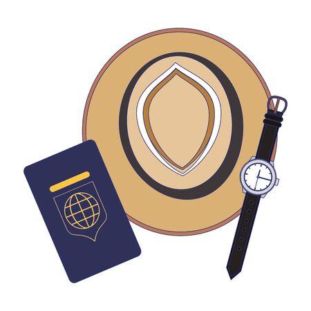 Travel vacations hat passport and wristwatch cartoons