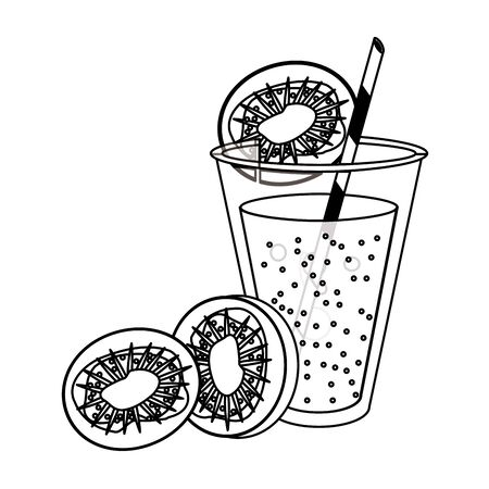 Kiwi juice cup with straw cartoon isolated vector illustration graphic design Ilustração