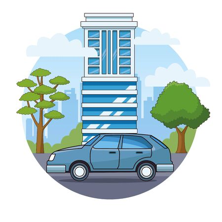 Classic coupe car vehicle sideview riding in the city, urban background vector illustration graphic design Banque d'images - 129651987