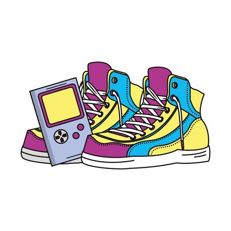 retro vintage pop art boots with tetris gameplay console cartoon vector illustration graphic design