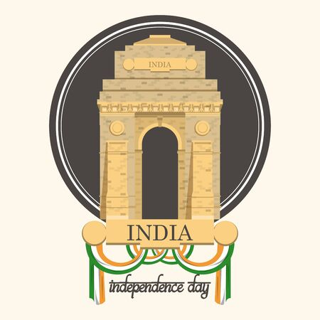 India independence day card with patriotic monuments and emblems, poster holiday. Indian gate