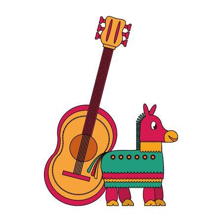 Mexico celebrations pinata donkey and guitar cartoons vector illustration graphic design