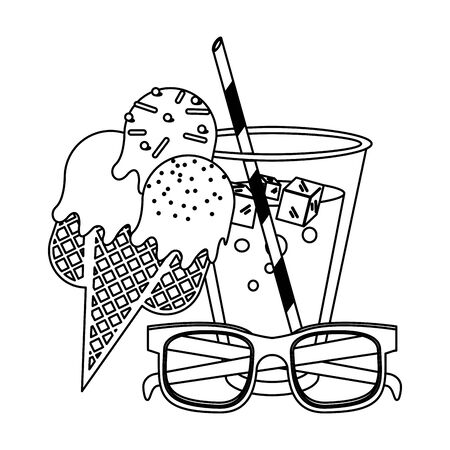 Juice cup with ice cream ans sunglasses cartoon vector illustration graphic design