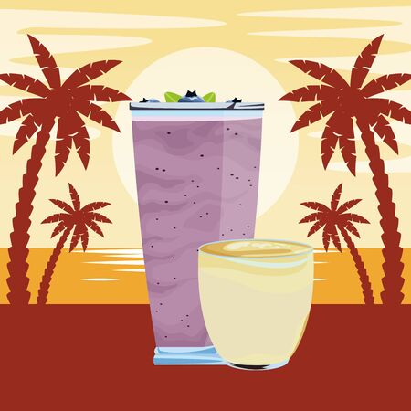 fruit tropical smoothie drink with small cup, large glass and straw icon cartoon over beach sunset landscape vector illustration graphic design Çizim