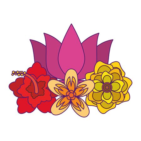 lotus blossom flowers nelumbo nucifera gaertn icon cartoon vector illustration graphic design Stock Illustratie