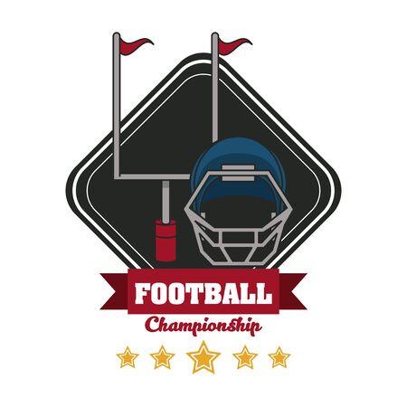Football sport championship emblem with equipment symbols with five stars , sport tournament. vector illustration.