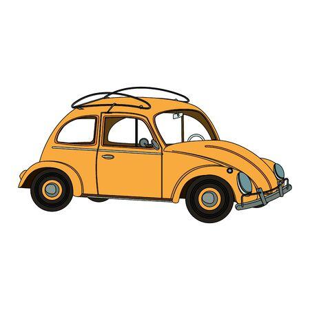 vintage retro classic car cartoon vector illustration graphic design